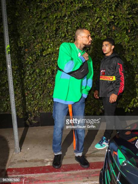 Chris Brown is seen on April 06 2018 in Los Angeles California