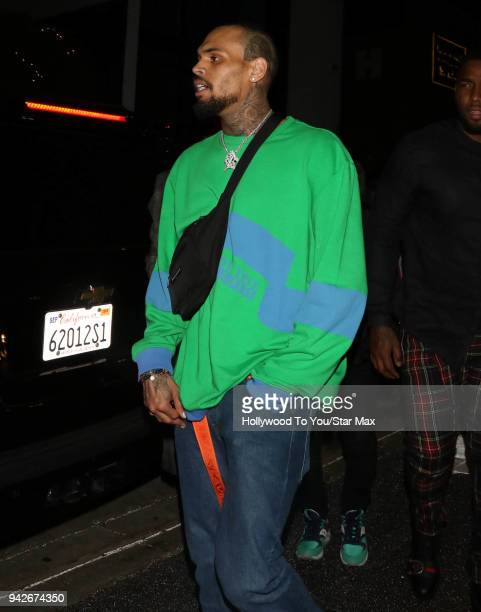 Chris Brown is seen on April 5 2018 in Los Angeles California
