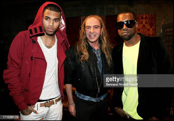 Chris Brown John Galliano Kanye West at The John Galliano Fashion Show Introducing The AutumnWinter 20102011 Menswear Collection In Paris
