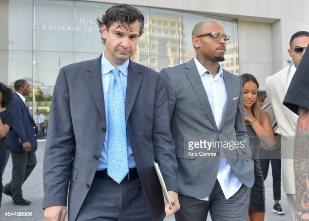 Chris Brown leaves the H Carl Moultrie I Court House of the District of Columbia with his lawyer Danny Onorato where he took a plea deal for an...