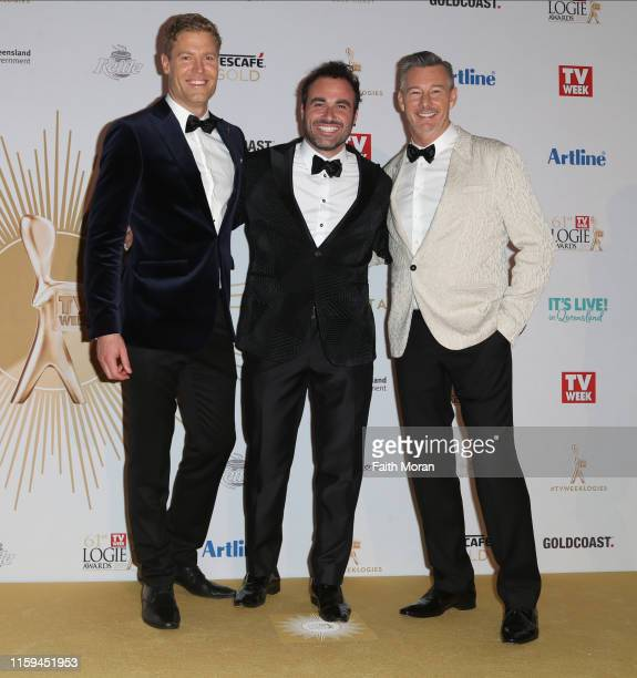 Chris Brown Miguel Maestre and Barry Du Bois arrive at the 61st Annual TV WEEK Logie Awards at The Star Gold Coast on June 30 2019 on the Gold Coast...