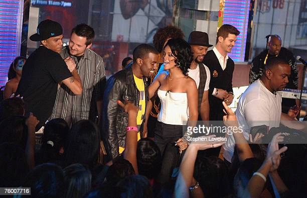 Chris Brown MTV VJ Damien Fahey Kanye West Rihanna Common Robin Thicke and Timbaland during MTV's TRL announcing the nominations for the 2007 MTV...