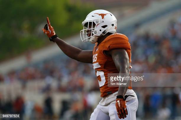 Chris Brown of the Texas Longhorns reacts in the second half during the OrangeWhite Spring Game at Darrell K RoyalTexas Memorial Stadium on April 21...