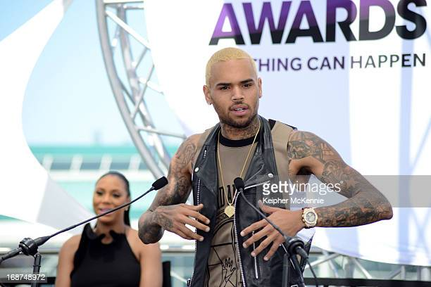 Chris Brown on stage at the 2013 BET Awards press conference at Icon Ultra Lounge on May 14 2013 in Los Angeles California