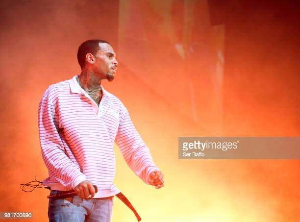 Chris Brown performs at 2018 BET Experience Staples Center Concert sponsored by COCACOLA at LA Live on June 22 2018 in Los Angeles California