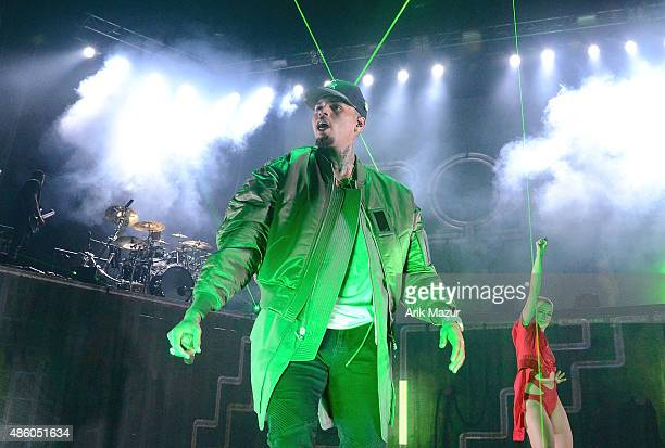 Chris Brown performs at Nikon at Jones Beach Theater on August 30, 2015 in Wantagh, New York.