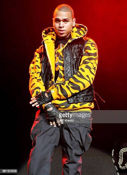 Chris Brown performs at the 1027 KIIS FM Jingle Ball at The Honda Center on December 6 2008 in Anaheim California