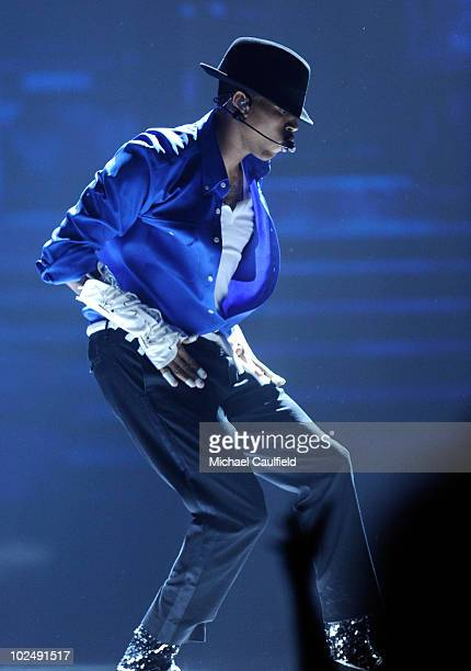 Chris Brown performs during a Michael Jackson Tribute onstage during the 2010 BET Awards held at the Shrine Auditorium on June 27, 2010 in Los...