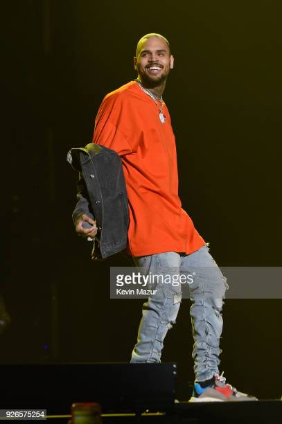 Chris Brown performs during Demi Lovato 'Tell Me You Love Me' World Tour at The Forum on March 2 2018 in Inglewood California