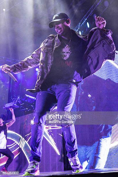 Chris Brown performs during during his 'One Hell of a Night Tour' at the Austin360 Amphitheater on September 9 2015 in Austin Texas