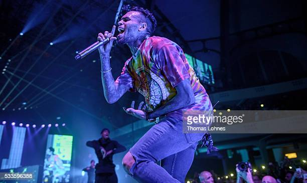 Chris Brown performs during his 'One Hell Of A Night' tour at Festhalle Frankfurt on May 22 2016 in Frankfurt am Main Germany