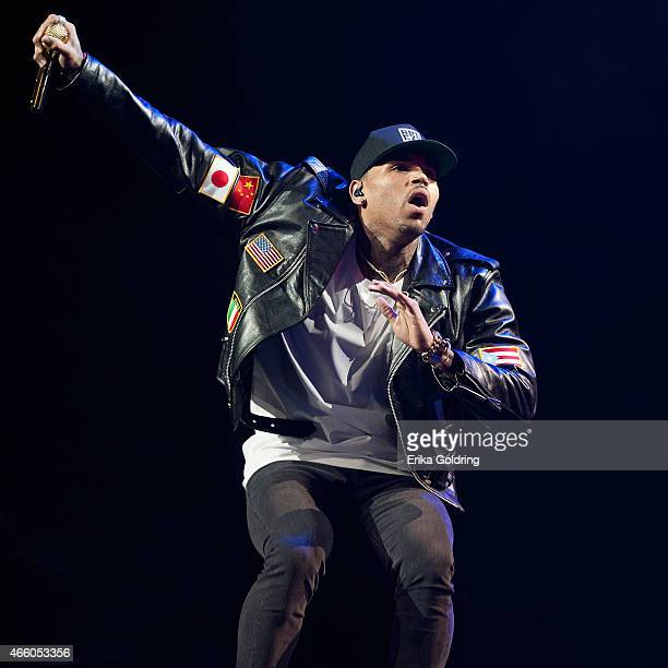 Chris Brown performs during the Between The Sheets Tour at Smoothie King Center on March 12 2015 in New Orleans Louisiana