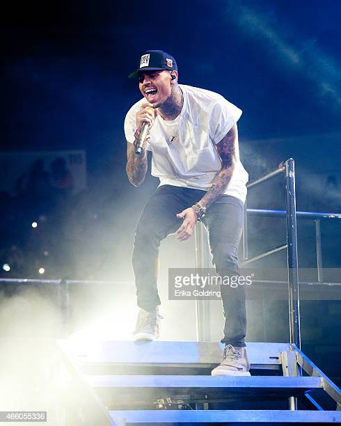 Chris Brown performs during the 'Between The Sheets Tour' at Smoothie King Center on March 12 2015 in New Orleans Louisiana