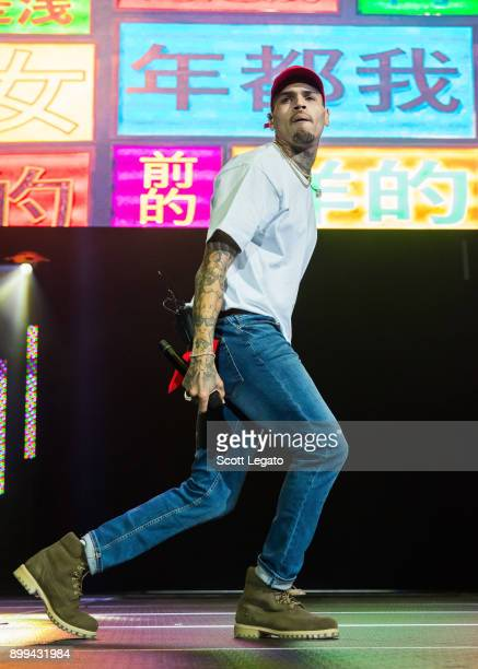 Chris Brown performs during the Big Show at Little Caesars Arena on December 28 2017 in Detroit Michigan