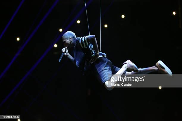 Chris Brown performs during the Chris Brown The Party Tour at Prudential Center on April 1 2017 in Newark New Jersey