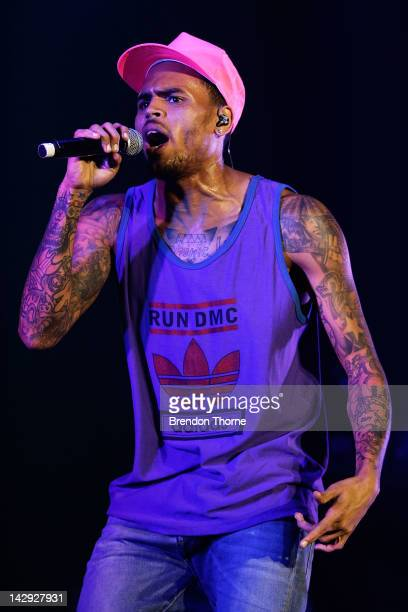 Chris Brown performs live on stage during Supafest 2012 at ANZ Stadium on April 15 2012 in Sydney Australia