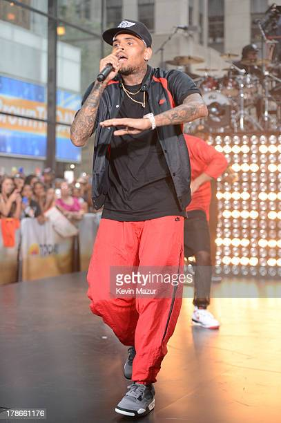 Chris Brown performs on NBC's 'Today' at Rockefeller Plaza on August 30 2013 in New York City
