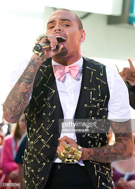 Chris Brown performs on NBC's 'Today' at Rockefeller Plaza on July 15 2011 in New York United States