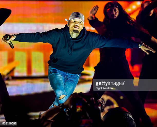 Chris Brown performs on stage at Oslo Spektrum on June 03 2016 in Oslo Norway