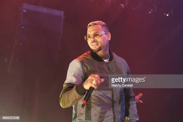 Chris Brown performs on stage during the HOT 97 Summer Jam 2017 at MetLife Stadium on June 11 2017 in East Rutherford New Jersey