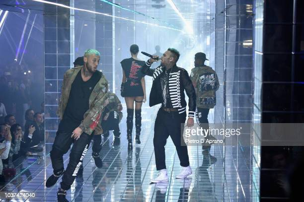 Chris Brown performs on the runway at the Philipp Plein show during Milan Fashion Week Spring/Summer 2019 on September 21 2018 in Milan Italy