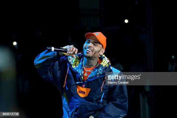 Chris Brown performs onstage at the 2017 Hot for the Holidays concert at Prudential Center on December 14 2017 in Newark New Jersey