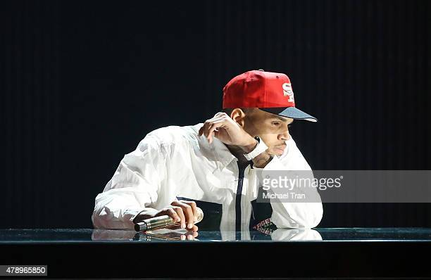 Chris Brown performs onstage during the 2015 BET Awards held at Microsoft Theater on June 28 2015 in Los Angeles California