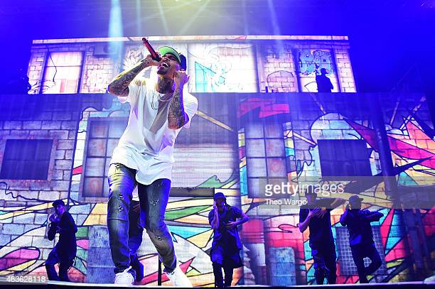 Chris Brown performs onstage during the 'Between The Sheets' tour at Barclays Center of Brooklyn on February 16 2015 in New York City