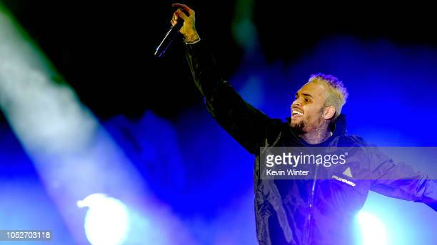 Chris Brown performs onstage during We Can Survive A Radiocom Event at The Hollywood Bowl on October 20 2018 in Los Angeles California