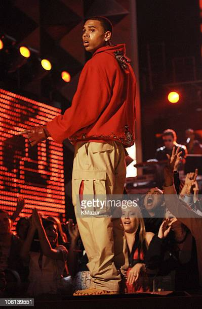 """Chris Brown performs """"Run It!"""" during The 49th Annual GRAMMY Awards - Show at Staples Center in Los Angeles, California, United States."""