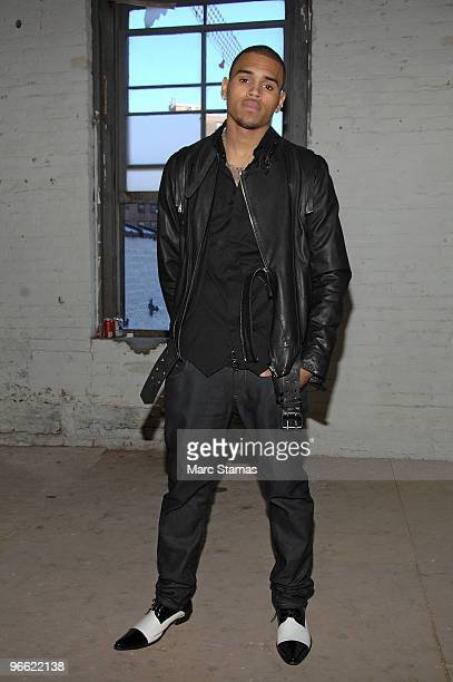 Chris Brown poses at the Buckler Menswear Fall/Winter 2010 presentation on February 12 2010 in New York City