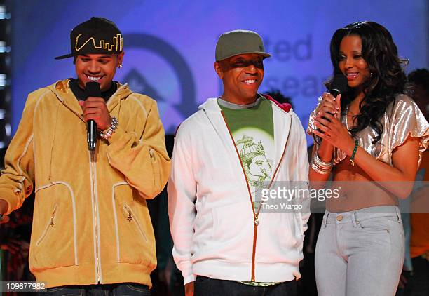 Chris Brown Russell Simmons and Ciara during BET's Rip the Runway 2007 Show at Hammerstein Ballroom in New York City New York United States