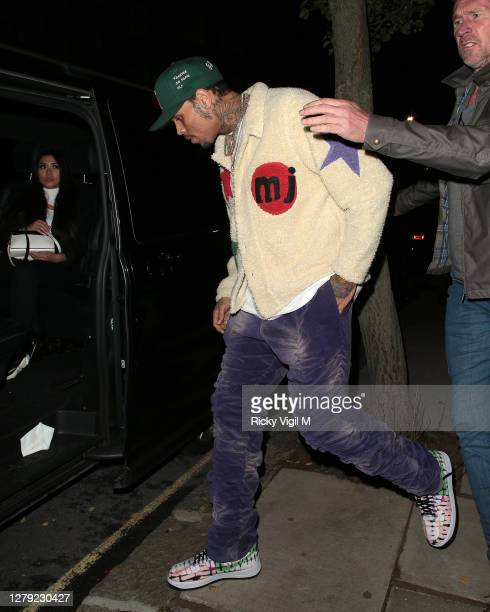 Chris Brown seen on a night out in Notting Hill on October 08, 2020 in London, England.