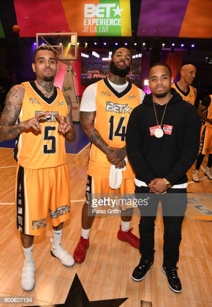 Chris Brown The Game and Mack Wilds at the Celebrity Basketball Game presented by Sprite and State Farm during the 2017 BET Experience at Los Angeles...