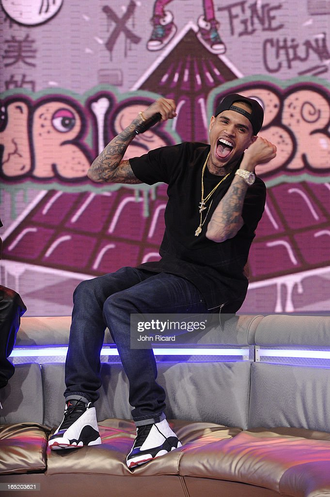 Chris Brown visits BET's '106 & Park' at BET Studios on April 1, 2013 in New York City.