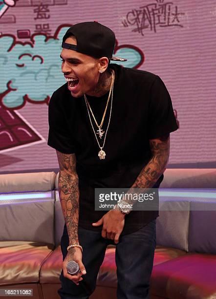 Chris Brown visits BET's 106 Park at BET Studios on April 1 in New York City