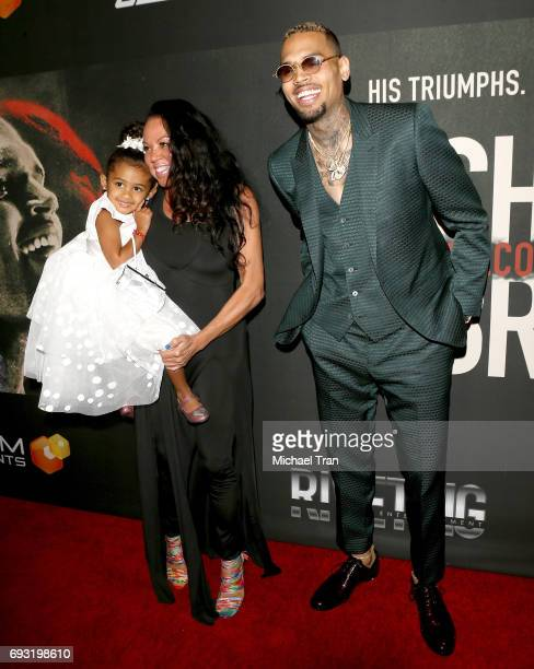 Chris Brown with mom Joyce Hawkins and his daughter Royalty Brown attend the Los Angeles premiere of Fathom Events' Chris Brown Welcome To My Life...