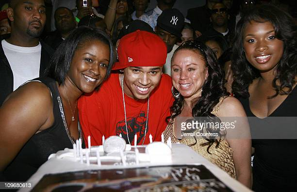 Chris Brown with mother Joyce Hawkins Jennifer Hudson and guest