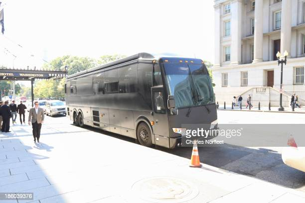 Chris Brown's bus parked outside the W Hotel on October 27 2013 in Washington DC Chris Brown was arrested at 430 this morning for felony assault...