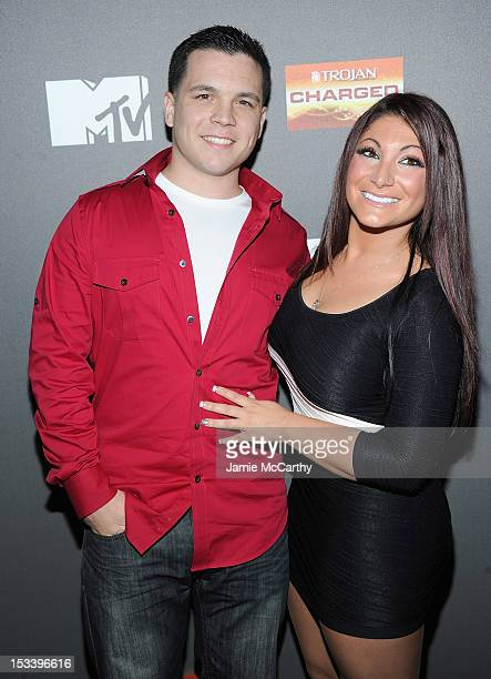 Chris Bruckner and Deena Nicole Cortese attend the 'Jersey Shore' Final Season Premiere at Bagatelle on October 4 2012 in New York City