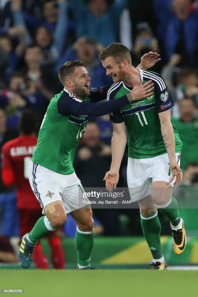 Chris Brunt of Northern Ireland celebrates after scoring a goal to make it 2-0 during the FIFA 2018 World Cup Qualifier between Northern Ireland and Czech Republic at Windsor Park on September 4, 2017 in Belfast, Northern Ireland.