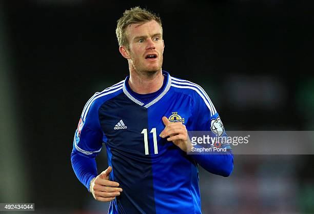 Chris Brunt of Northern Ireland during the UEFA EURO 2016 Qualifying match between Finland and Northern Ireland at the Olympic Stadium on October 11...
