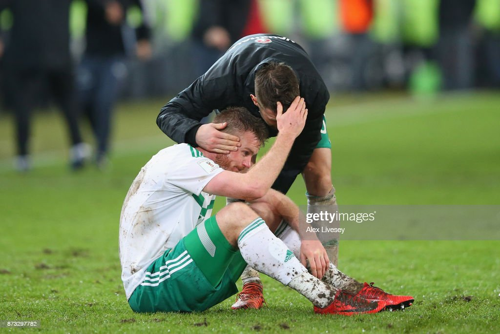 Chris Brunt of Northern Ireland looks dejected following the FIFA 2018 World Cup Qualifier Play-Off: Second Leg between Switzerland and Northern Ireland at St. Jakob-Park on November 12, 2017 in Basel, Basel-Stadt.