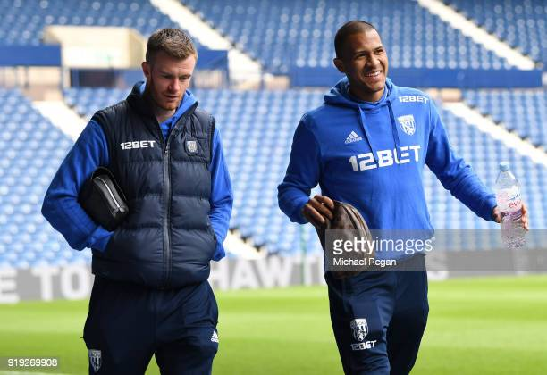 Chris Brunt of West Bromwich Albion and Jose Salomon Rondon of West Bromwich Albion arrive at the stadium prior to the The Emirates FA Cup Fifth...