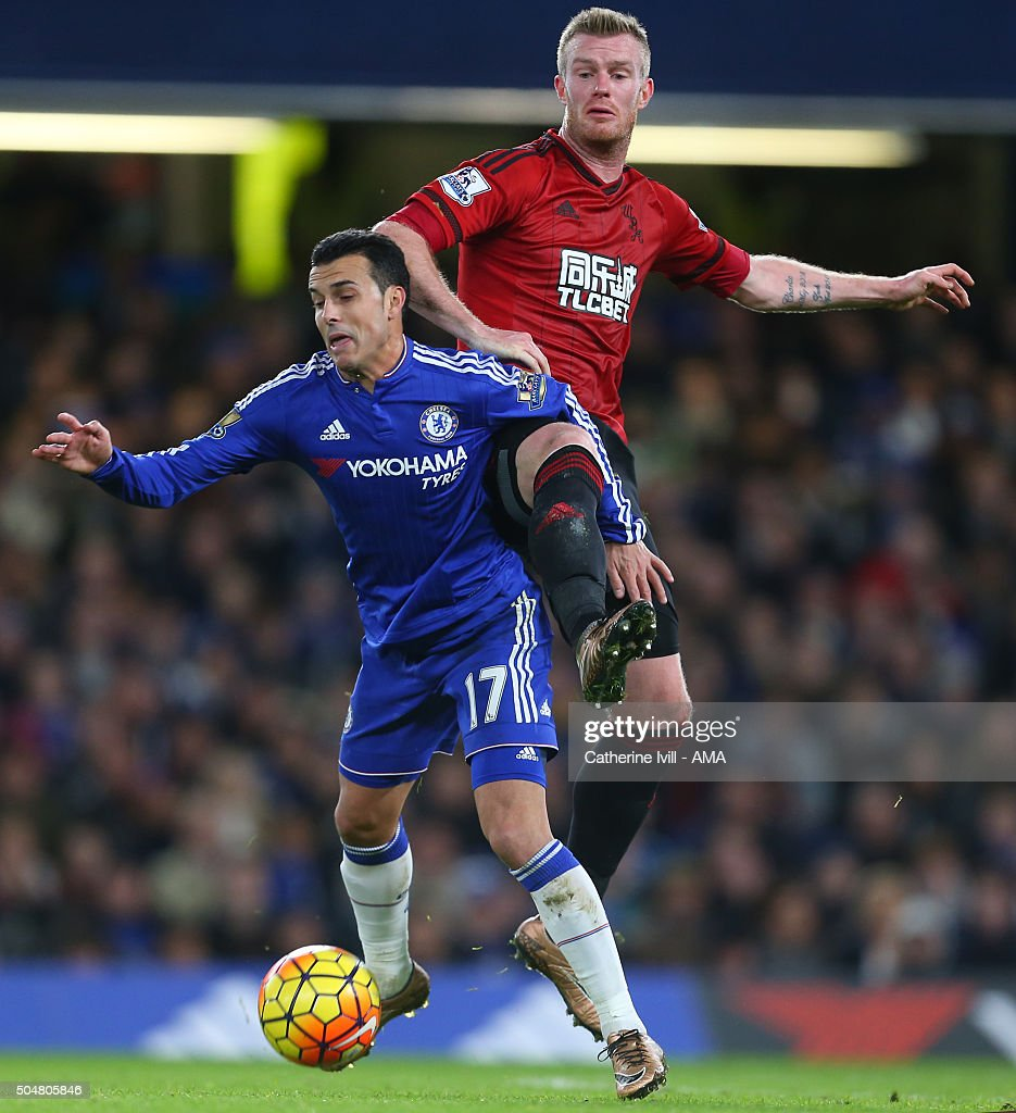 Chris Brunt of West Bromwich Albion and Pedro of Chelsea during the Barclays Premier League match between Chelsea and West Bromwich Albion at Stamford Bridge on January 13, 2016 in London, England.