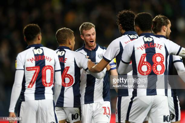 Chris Brunt of West Bromwich Albion celebrates after scoring a goal to make it 10 during the Sky Bet Championship match between West Bromwich Albion...