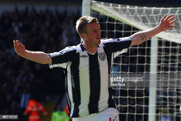 Chris Brunt of West Bromwich Albion celebrates his goal during the Barclays Premier League match between West Bromwich Albion and Sunderland at The...