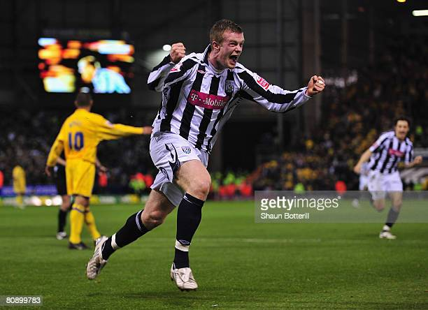 Chris Brunt of West Bromwich Albion celebrates scoring an equalising goal during the CocaCola Championship match between West Bromwich Albion and...