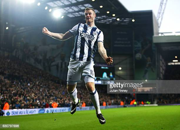 Chris Brunt of West Bromwich Albion celebrates scoring his sides first goal during the Premier League match between West Bromwich Albion and Hull...
