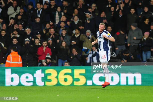 Chris Brunt of West Bromwich Albion celebrates scoring the opening goal during the Sky Bet Championship match between West Bromwich Albion and...